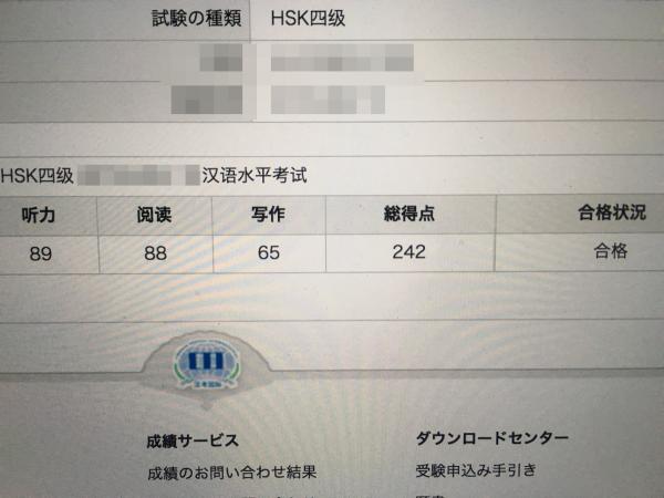 HSK4級の合格通知書