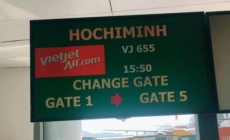 ダナン空港でベトジェットのゲートの変更